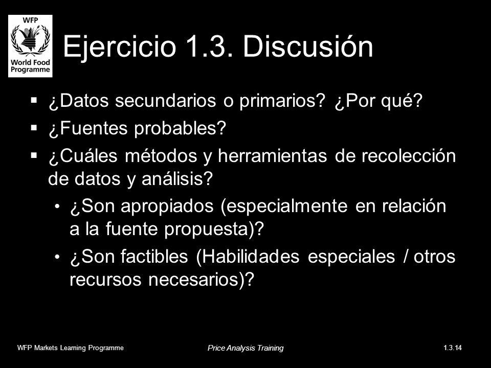 Ejercicio 1.3. Discusión ¿Datos secundarios o primarios? ¿Por qué? ¿Fuentes probables? ¿Cuáles métodos y herramientas de recolección de datos y anális