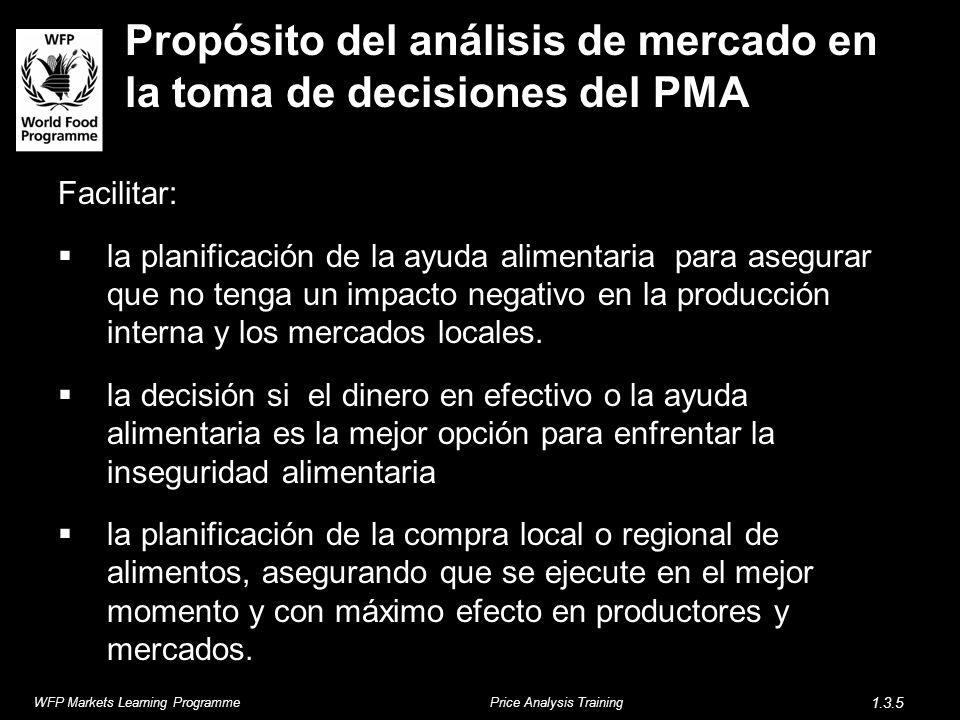 Propósito del análisis de mercado en la toma de decisiones del PMA Facilitar: la planificación de la ayuda alimentaria para asegurar que no tenga un i