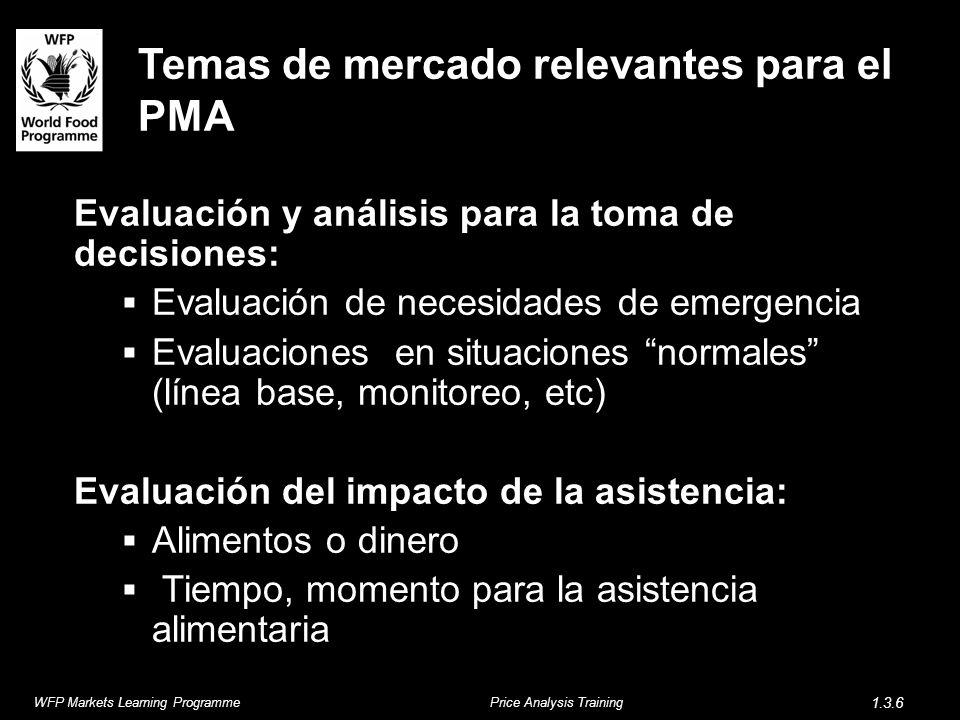 Temas de mercado relevantes para el PMA Evaluación y análisis para la toma de decisiones: Evaluación de necesidades de emergencia Evaluaciones en situ