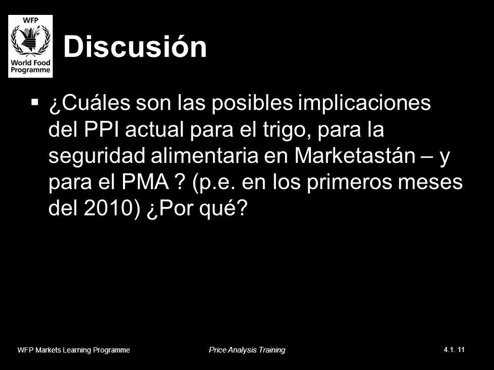 Discusión ¿Cuáles son las posibles implicaciones del PPI actual para el trigo, para la seguridad alimentaria en Marketastán – y para el PMA .