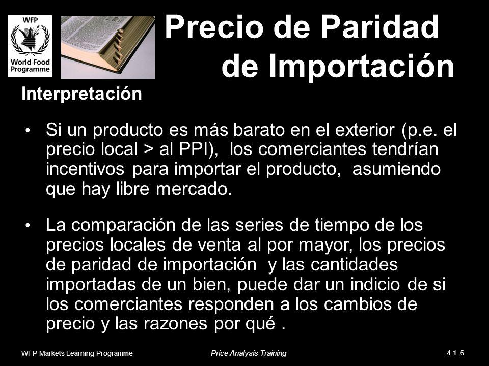 Precio de Paridad de Importación Interpretación Si un producto es más barato en el exterior (p.e.