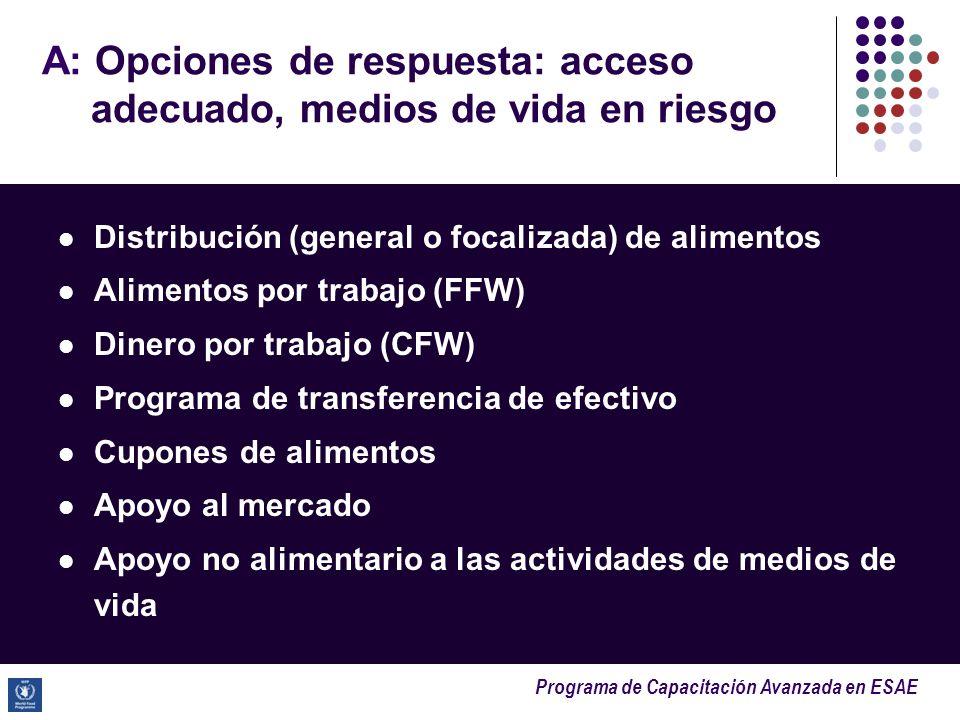 Programa de Capacitación Avanzada en ESAE A: Opciones de respuesta: acceso adecuado, medios de vida en riesgo Distribución (general o focalizada) de a