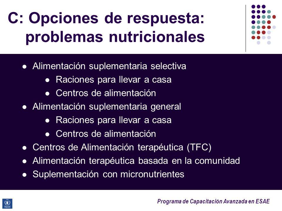Programa de Capacitación Avanzada en ESAE C: Opciones de respuesta: problemas nutricionales Alimentación suplementaria selectiva Raciones para llevar