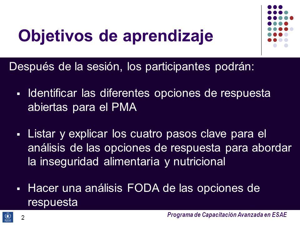 Programa de Capacitación Avanzada en ESAE Objetivos de aprendizaje Después de la sesión, los participantes podrán: Identificar las diferentes opciones