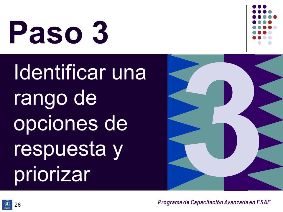 Programa de Capacitación Avanzada en ESAE 26 Paso 3 Identificar una rango de opciones de respuesta y priorizar 3