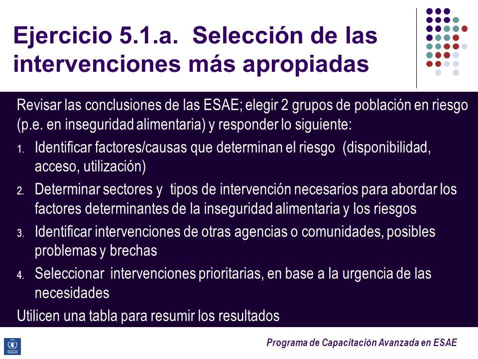 Programa de Capacitación Avanzada en ESAE Ejercicio 5.1.a. Selección de las intervenciones más apropiadas Revisar las conclusiones de las ESAE; elegir