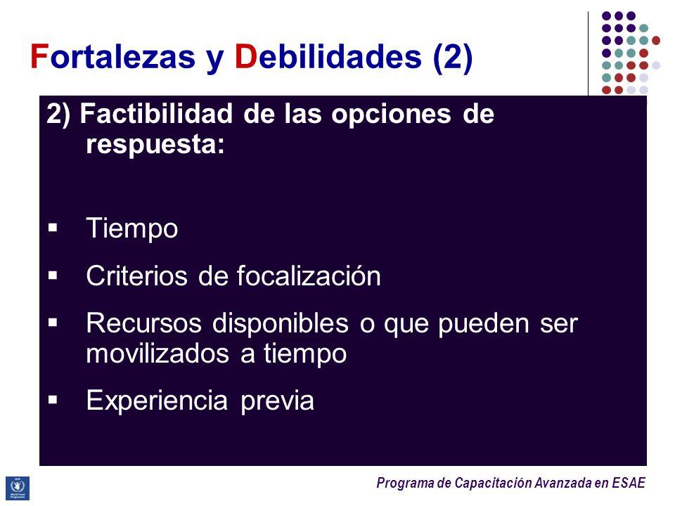 Programa de Capacitación Avanzada en ESAE Fortalezas y Debilidades (2) 2) Factibilidad de las opciones de respuesta: Tiempo Criterios de focalización
