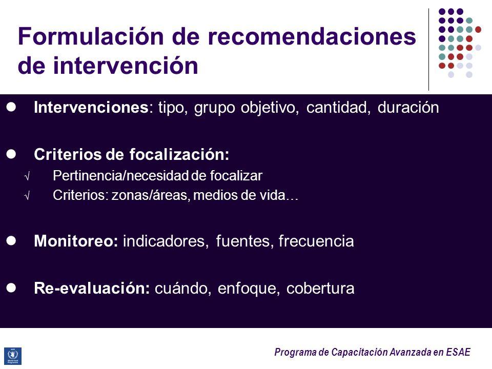 Programa de Capacitación Avanzada en ESAE Formulación de recomendaciones de intervención Intervenciones: tipo, grupo objetivo, cantidad, duración Crit