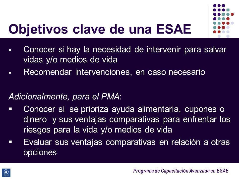 Programa de Capacitación Avanzada en ESAE Objetivos clave de una ESAE Conocer si hay la necesidad de intervenir para salvar vidas y/o medios de vida R