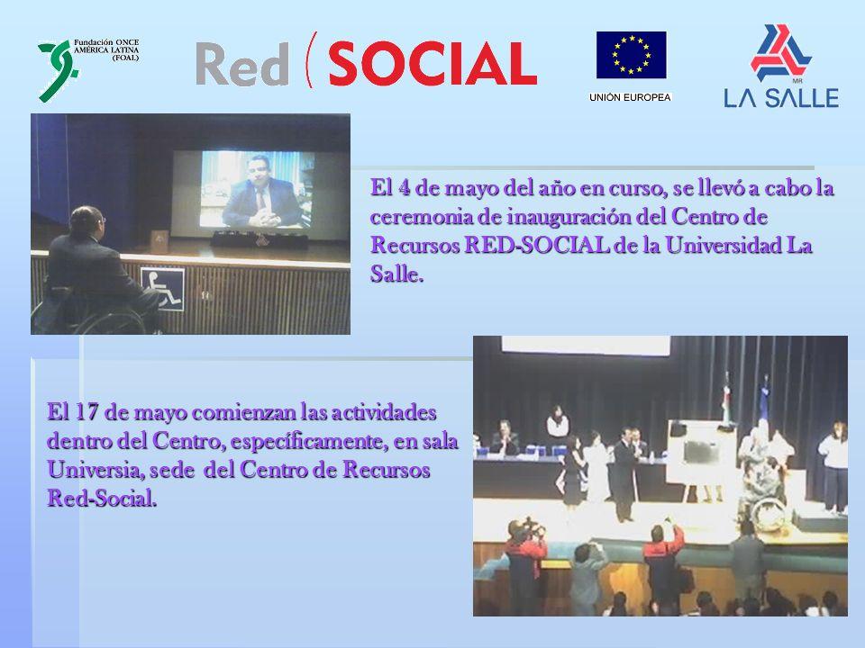 ORGANIGRAMA CENTRO DE RECURSOS RED-SOCIAL ULSA FUNDACIÓN ONCE AMERICA LATINA (FOAL) RED ( SOCIAL UNIÓN EUROPEA UNIVERSIDAD LA SALLE SOCIO COORDINADOR