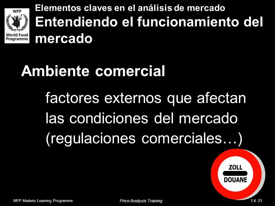 Ambiente comercial factores externos que afectan las condiciones del mercado (regulaciones comerciales…) Elementos claves en el análisis de mercado Entendiendo el funcionamiento del mercado WFP Markets Learning Programme1.4.