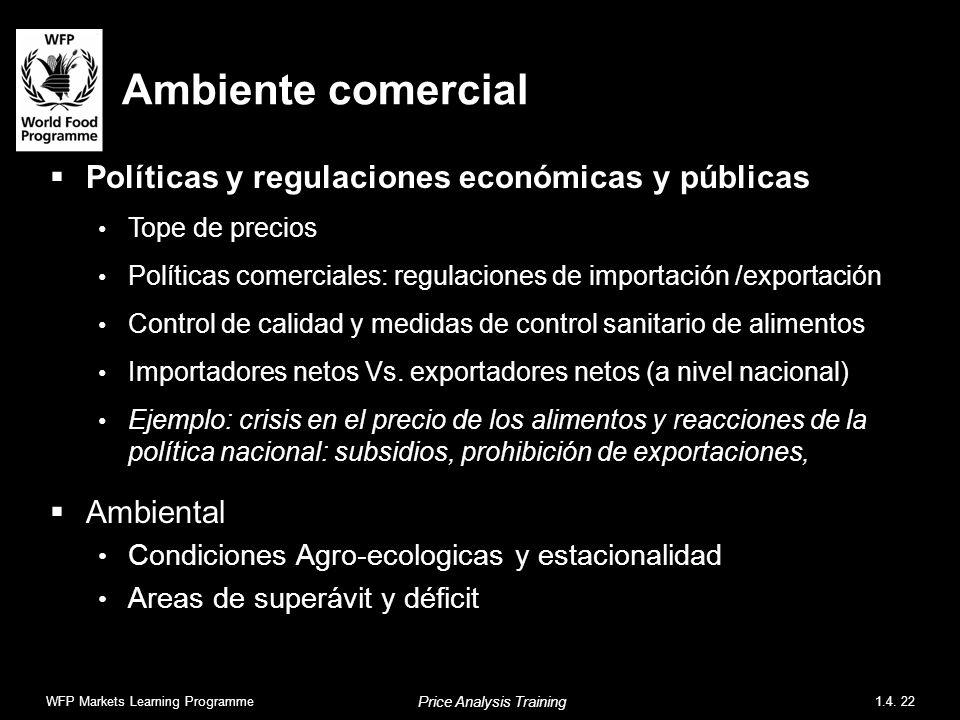 Ambiente comercial Políticas y regulaciones económicas y públicas Tope de precios Políticas comerciales: regulaciones de importación /exportación Control de calidad y medidas de control sanitario de alimentos Importadores netos Vs.