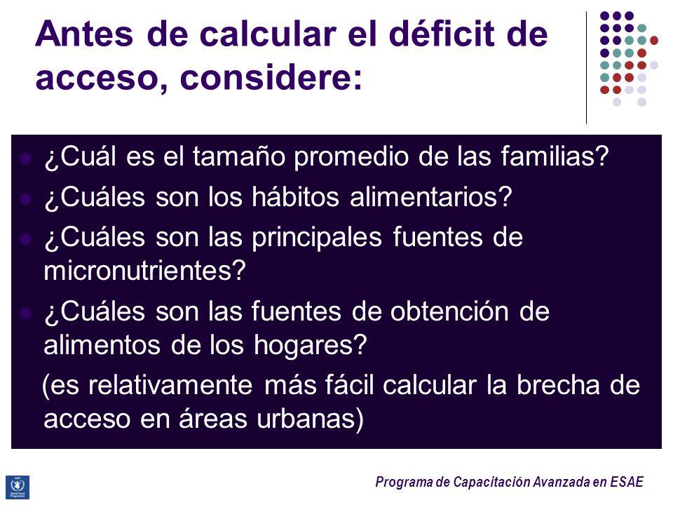 Programa de Capacitación Avanzada en ESAE Antes de calcular el déficit de acceso, considere: ¿Cuál es el tamaño promedio de las familias? ¿Cuáles son