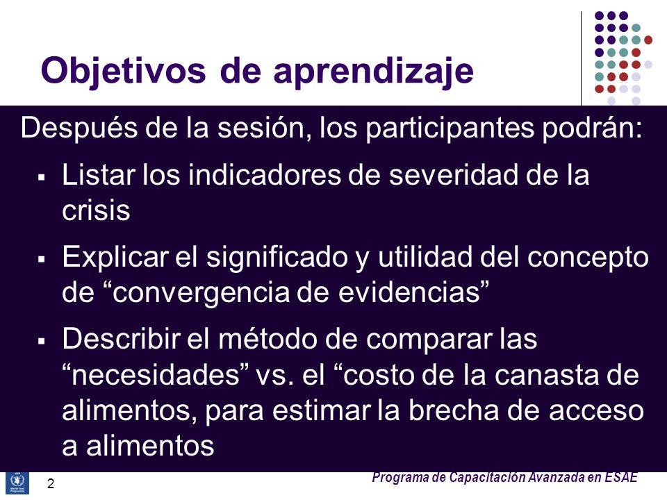 Programa de Capacitación Avanzada en ESAE Objetivos de aprendizaje Después de la sesión, los participantes podrán: Listar los indicadores de severidad