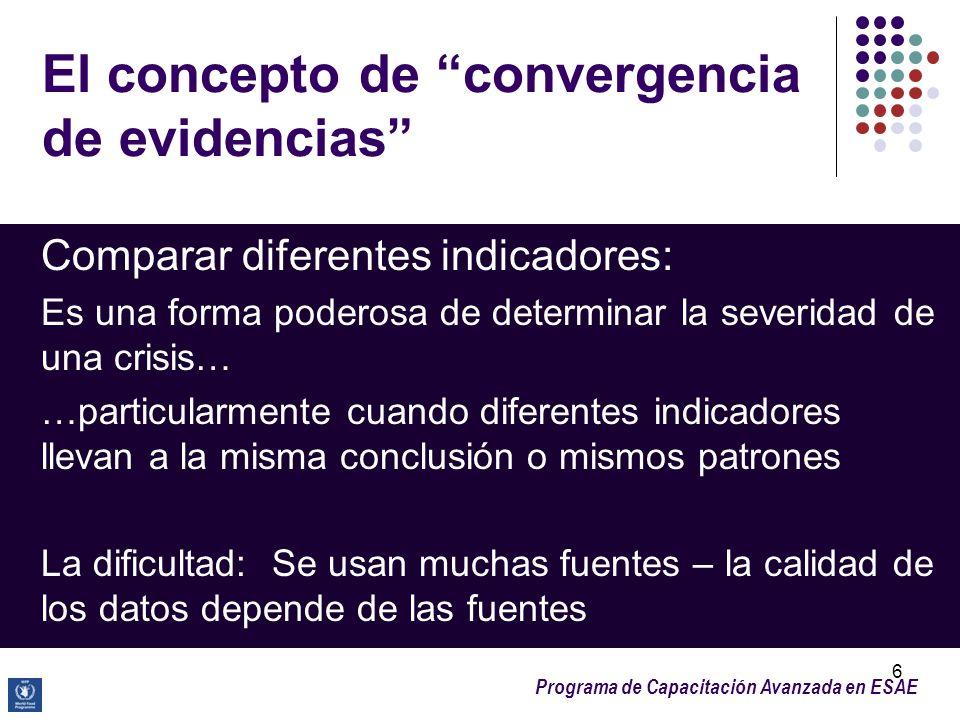Programa de Capacitación Avanzada en ESAE 6 El concepto de convergencia de evidencias Comparar diferentes indicadores: Es una forma poderosa de determ