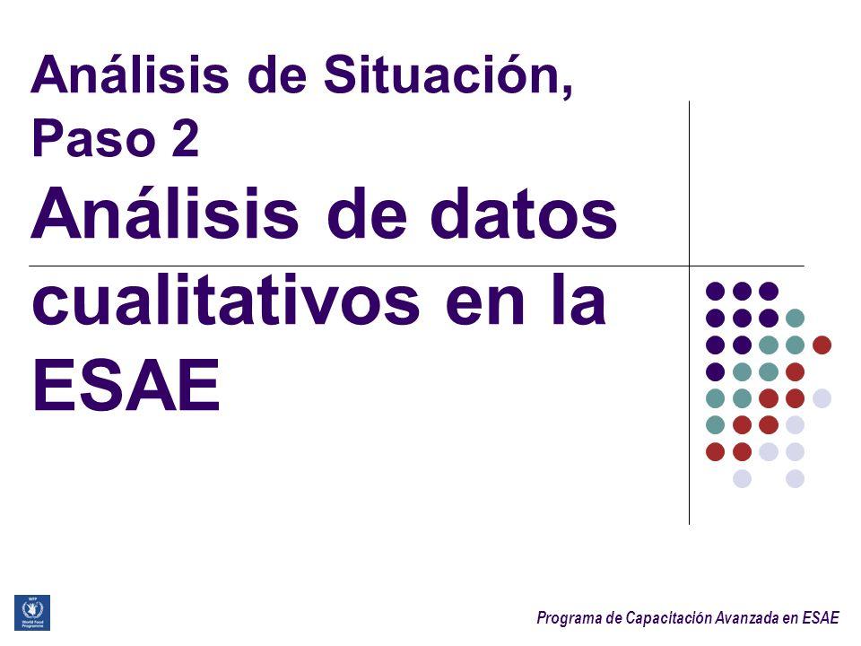 Programa de Capacitación Avanzada en ESAE Sesión 3.1. Análisis de Situación, Paso 2 Análisis de datos cualitativos en la ESAE
