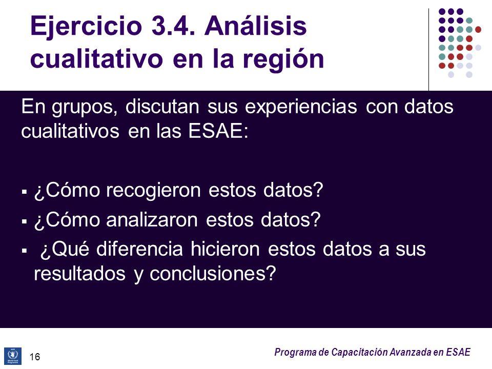 Programa de Capacitación Avanzada en ESAE Ejercicio 3.4. Análisis cualitativo en la región En grupos, discutan sus experiencias con datos cualitativos