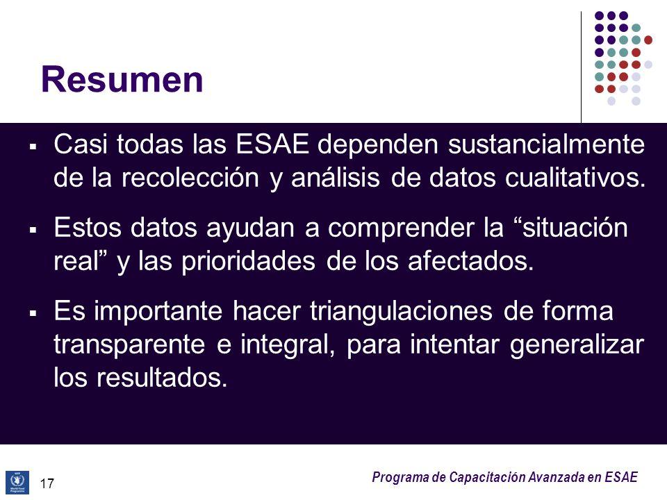 Programa de Capacitación Avanzada en ESAE Resumen Casi todas las ESAE dependen sustancialmente de la recolección y análisis de datos cualitativos. Est