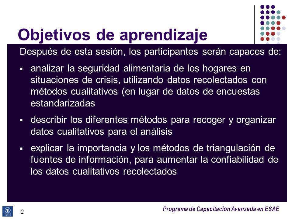 Programa de Capacitación Avanzada en ESAE Objetivos de aprendizaje Después de esta sesión, los participantes serán capaces de: analizar la seguridad a
