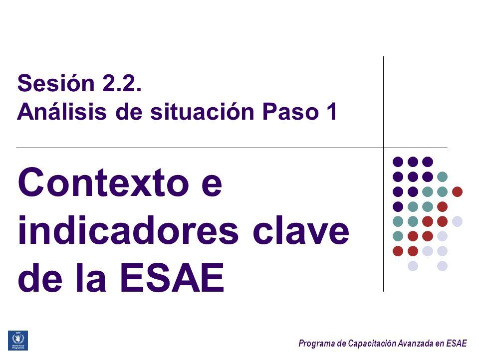 Programa de Capacitación Avanzada en ESAE 2 Después de la sesión, los participantes serán capaces de: Explicar el rol y la importancia de la información contextual para la ESAE Identificar los grupos de indicadores clave que se utilizan en la ESAE para determinar los niveles InSAN Objetivos de aprendizaje