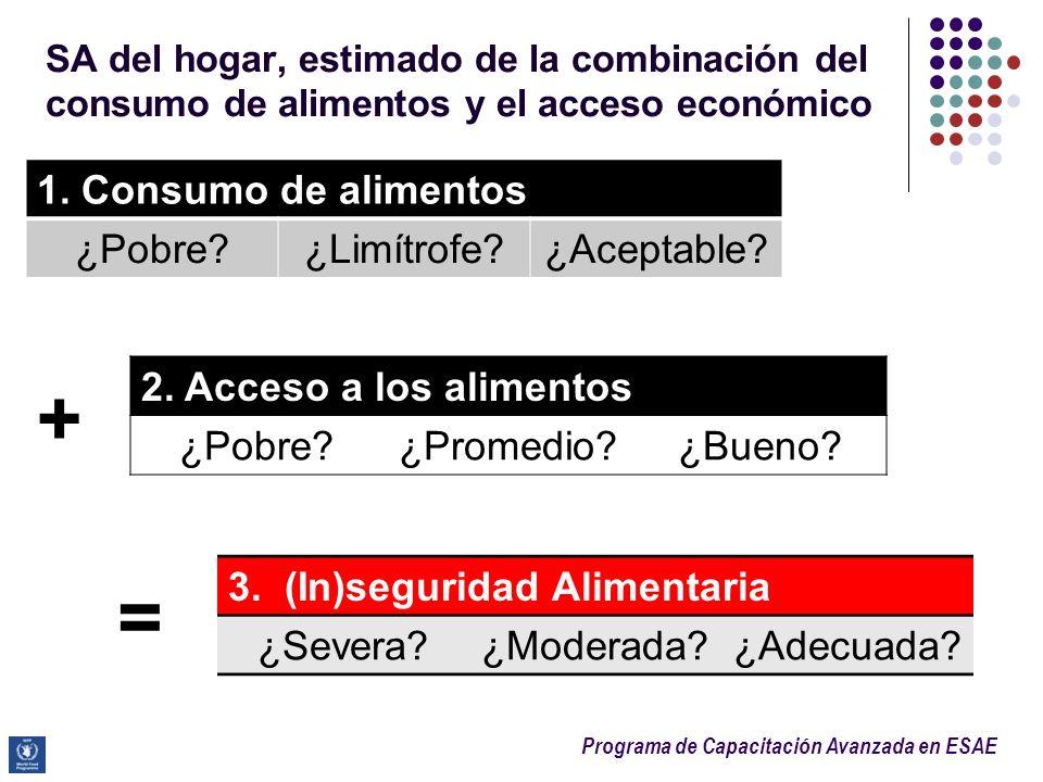 Programa de Capacitación Avanzada en ESAE SA del hogar, estimado de la combinación del consumo de alimentos y el acceso económico 1. Consumo de alimen