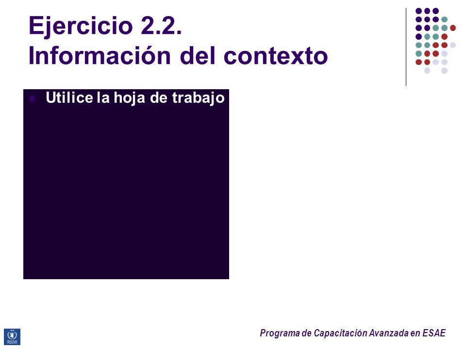 Programa de Capacitación Avanzada en ESAE Ejercicio 2.2. Información del contexto Utilice la hoja de trabajo