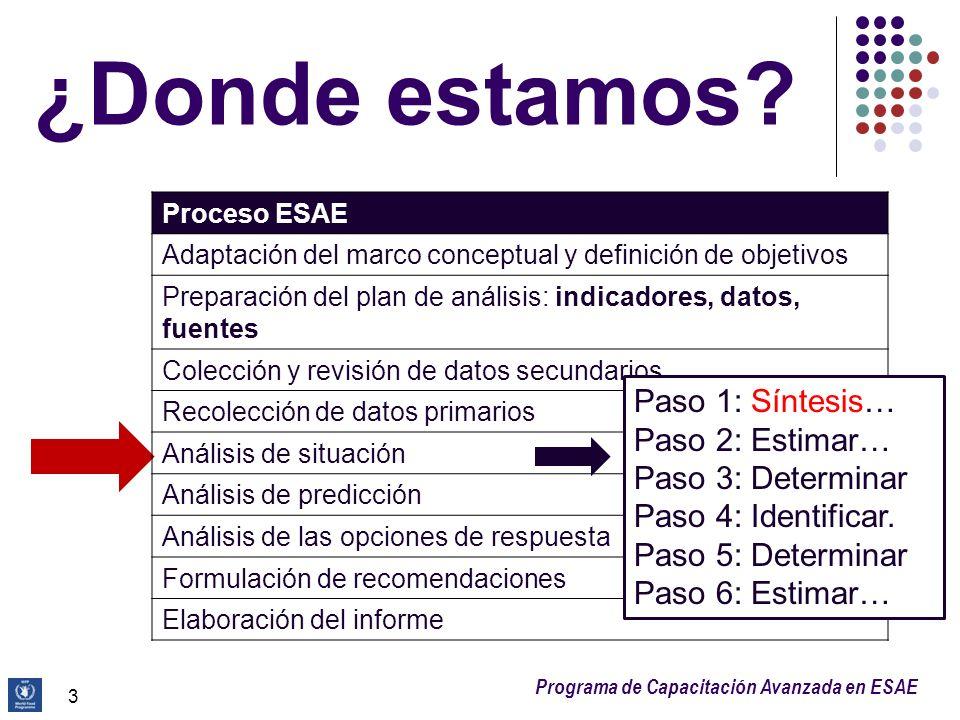 Programa de Capacitación Avanzada en ESAE 4 6 Pasos del análisis de situación Paso 1: Sintetizar la información del contexto para comprender la naturaleza de la crisis 1