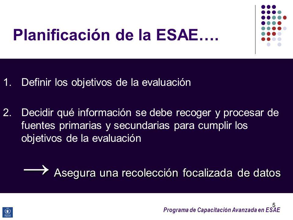 Programa de Capacitación Avanzada en ESAE 5 Planificación de la ESAE…. 1. Definir los objetivos de la evaluación 2. Decidir qué información se debe re