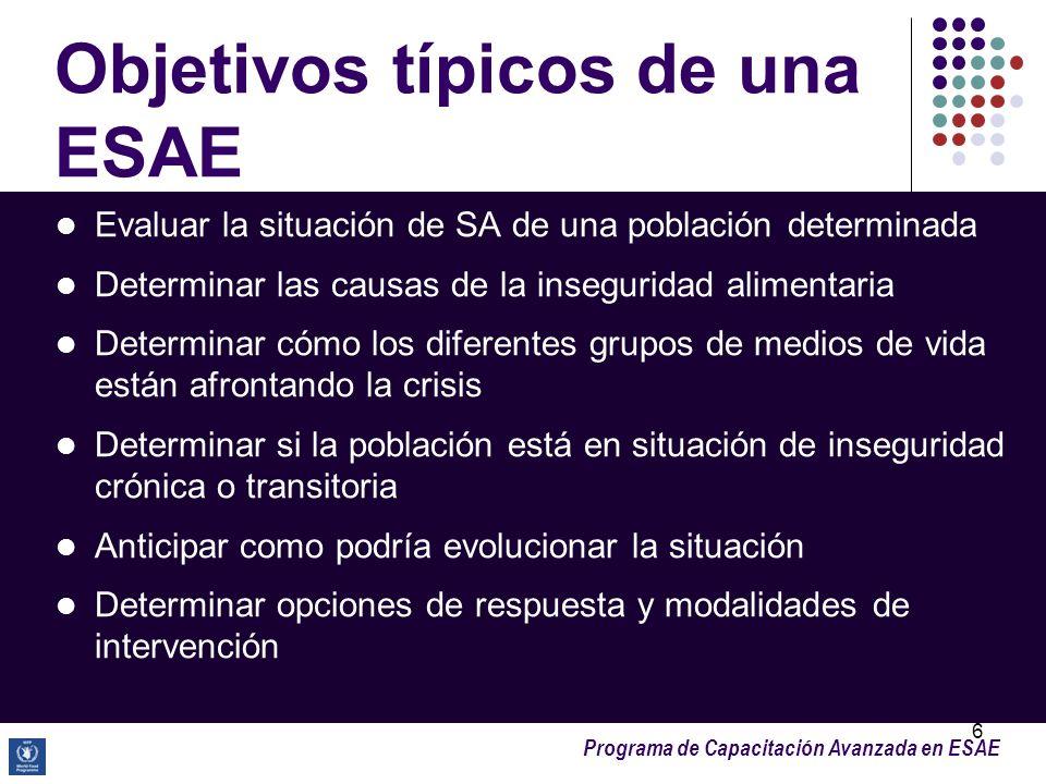 Programa de Capacitación Avanzada en ESAE 6 Objetivos típicos de una ESAE Evaluar la situación de SA de una población determinada Determinar las causa