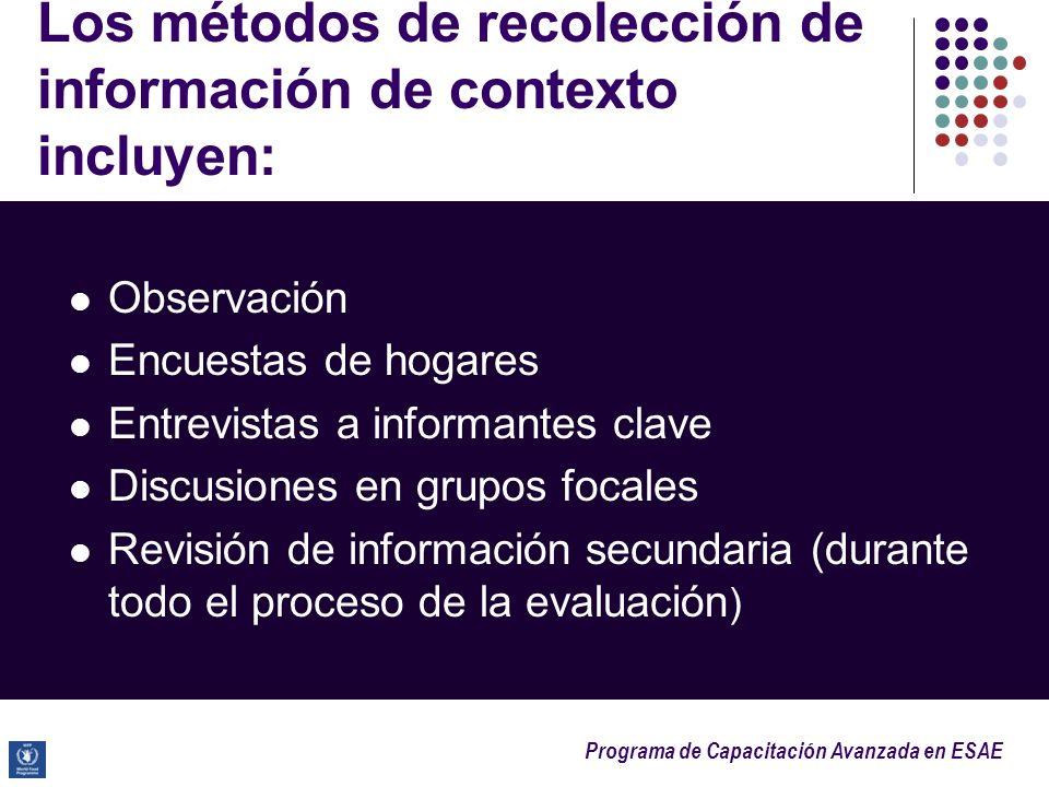 Programa de Capacitación Avanzada en ESAE Los métodos de recolección de información de contexto incluyen: Observación Encuestas de hogares Entrevistas