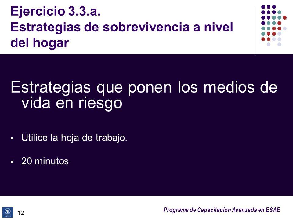 Programa de Capacitación Avanzada en ESAE Ejercicio 3.3.a. Estrategias de sobrevivencia a nivel del hogar Estrategias que ponen los medios de vida en