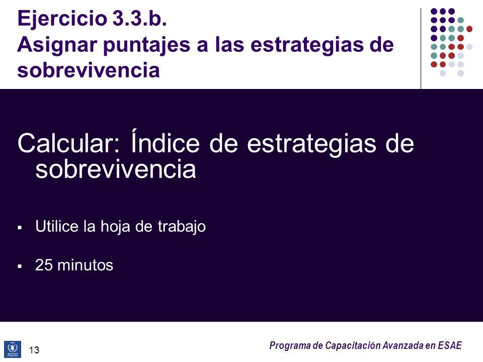 Programa de Capacitación Avanzada en ESAE Ejercicio 3.3.b. Asignar puntajes a las estrategias de sobrevivencia Calcular: Índice de estrategias de sobr