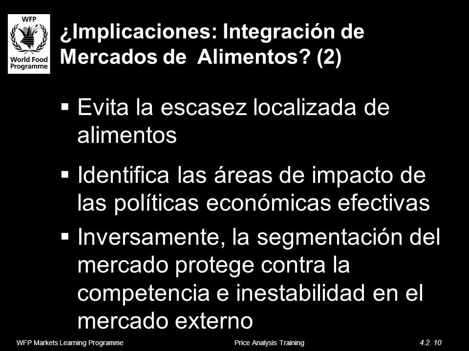 ¿Implicaciones: Integración de Mercados de Alimentos? (2) Evita la escasez localizada de alimentos Identifica las áreas de impacto de las políticas ec