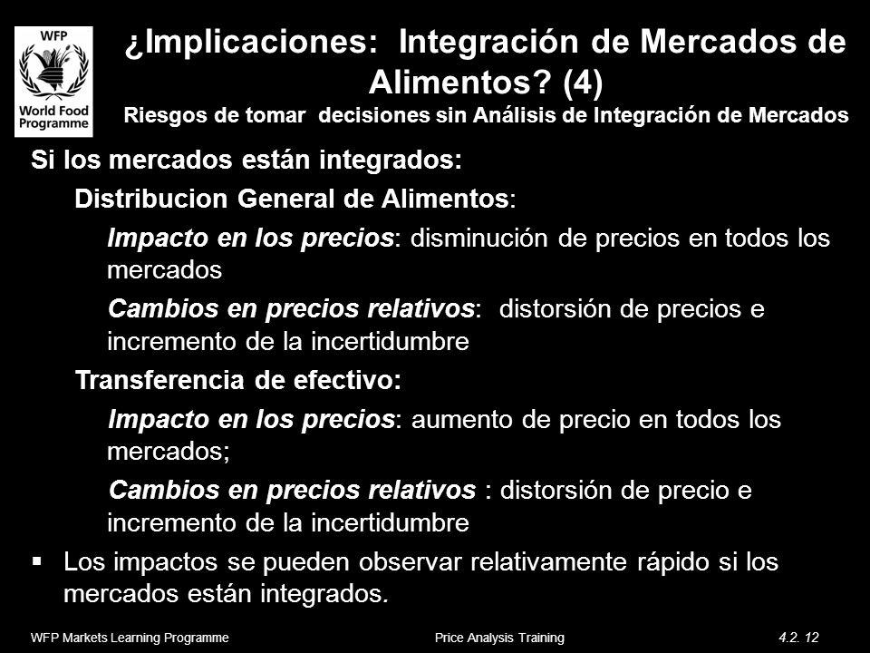 ¿Implicaciones: Integración de Mercados de Alimentos? (4) Riesgos de tomar decisiones sin Análisis de Integración de Mercados Si los mercados están in