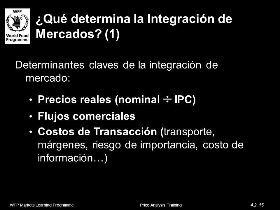 ¿Qué determina la Integración de Mercados? (1) Determinantes claves de la integración de mercado: Precios reales (nominal IPC) Flujos comerciales Cost