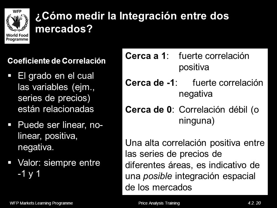 ¿Cómo medir la Integración entre dos mercados? Coeficiente de Correlación El grado en el cual las variables (ejm., series de precios) están relacionad