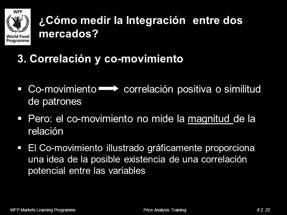 ¿Cómo medir la Integración entre dos mercados? 3. Correlación y co-movimiento Co-movimiento correlación positiva o similitud de patrones Pero: el co-m