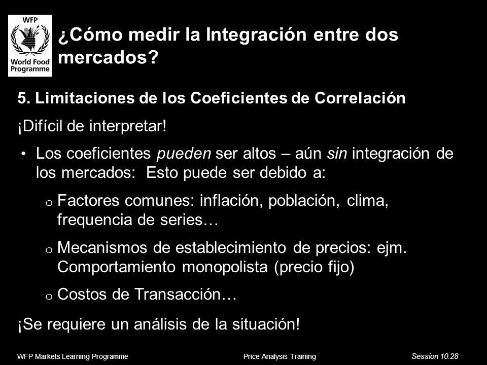 ¿Cómo medir la Integración entre dos mercados? 5. Limitaciones de los Coeficientes de Correlación ¡Difícil de interpretar! Los coeficientes pueden ser