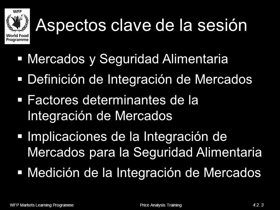 Mercados y Seguridad Alimentaria Definición de Integración de Mercados Factores determinantes de la Integración de Mercados Implicaciones de la Integración de Mercados para la Seguridad Alimentaria Medición de la Integración de Mercados Content Aspectos clave de la sesión WFP Markets Learning Programme 4.2.