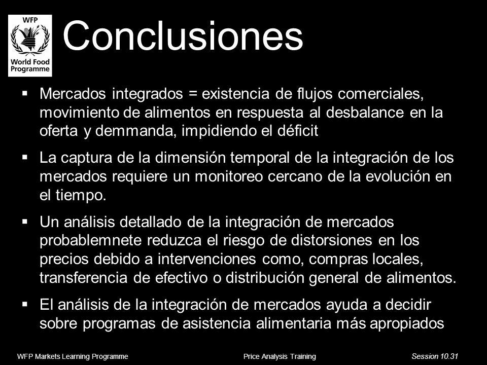Conclusiones Mercados integrados = existencia de flujos comerciales, movimiento de alimentos en respuesta al desbalance en la oferta y demmanda, impid