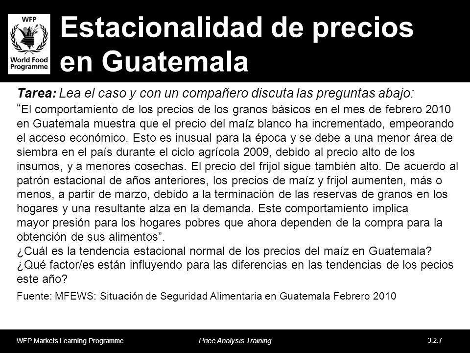 Estacionalidad de precios en Guatemala Tarea: Lea el caso y con un compañero discuta las preguntas abajo: El comportamiento de los precios de los gran