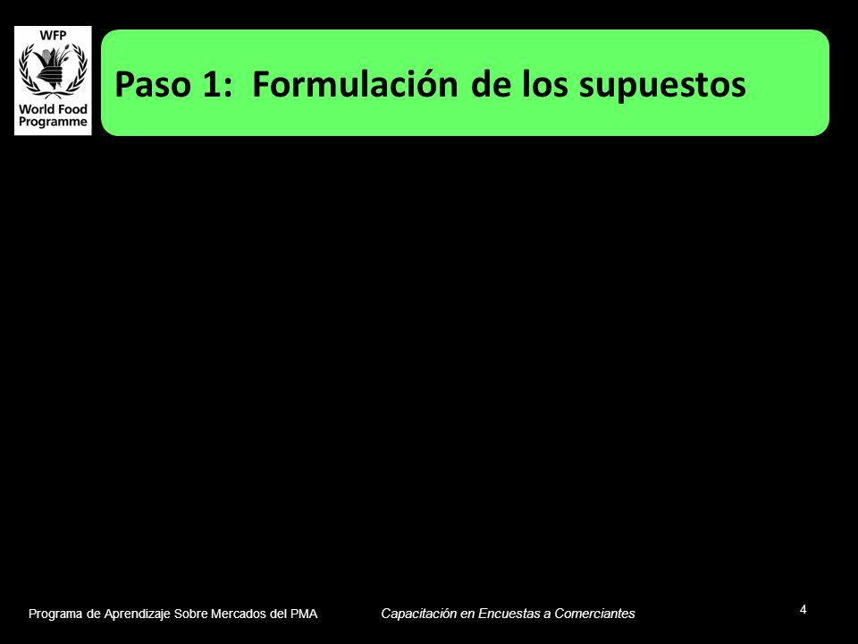 Programa de Aprendizaje Sobre Mercados del PMA Capacitación en Encuestas a Comerciantes 4 Paso 1: Formulación de los supuestos