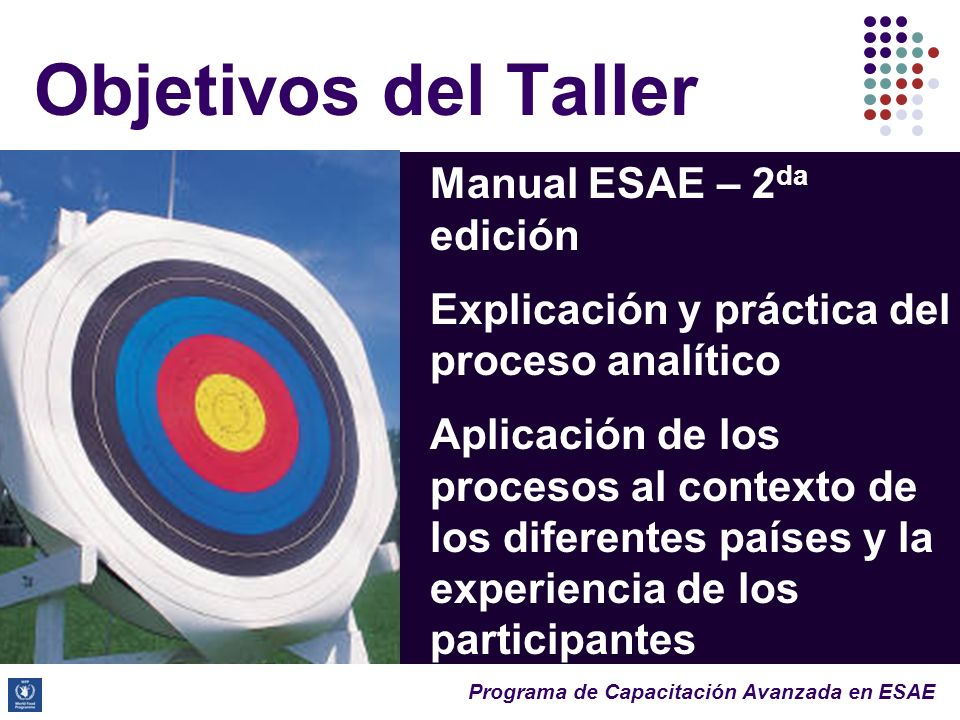 Programa de Capacitación Avanzada en ESAE Objetivos del Taller Manual ESAE – 2 da edición Explicación y práctica del proceso analítico Aplicación de los procesos al contexto de los diferentes países y la experiencia de los participantes