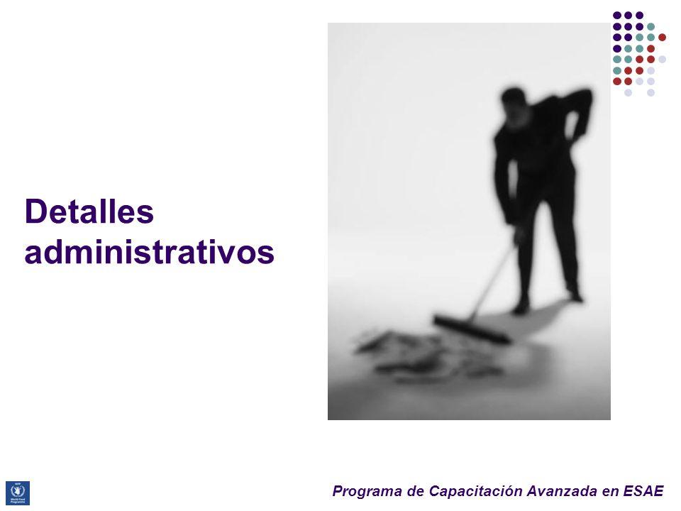 Programa de Capacitación Avanzada en ESAE Detalles administrativos