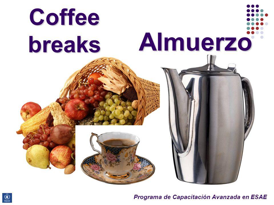 Programa de Capacitación Avanzada en ESAE Coffee breaks Almuerzo