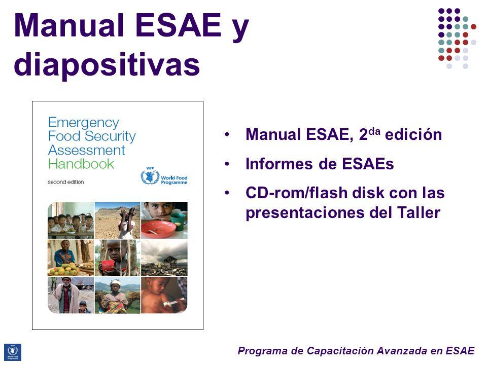 Programa de Capacitación Avanzada en ESAE Manual ESAE y diapositivas Second Edition Manual ESAE, 2 da edición Informes de ESAEs CD-rom/flash disk con las presentaciones del Taller