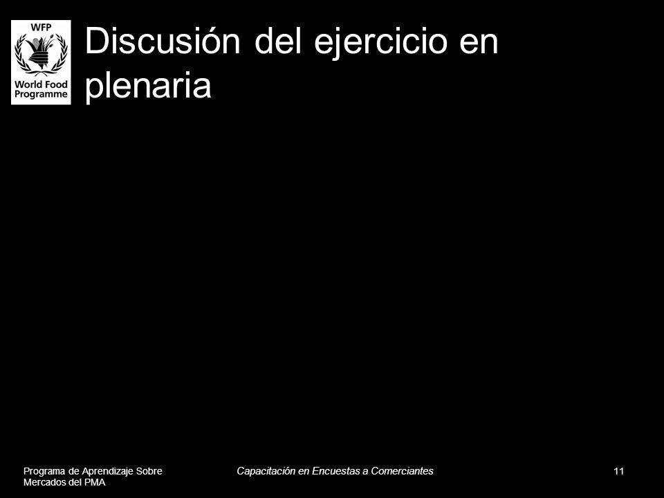 Discusión del ejercicio en plenaria Programa de Aprendizaje Sobre Mercados del PMA Capacitación en Encuestas a Comerciantes 11