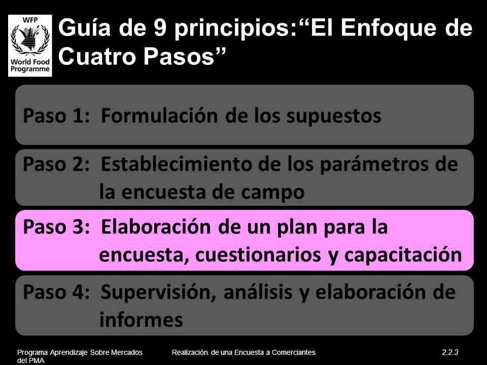 Guía de 9 principios:El Enfoque de Cuatro Pasos Paso 2: Establecimiento de los parámetros de la encuesta de campo Paso 1: Formulación de los supuestos
