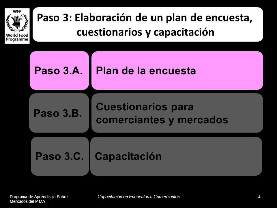 Programa de Aprendizaje Sobre Mercados del P MA Capacitación en Encuestas a Comerciantes 4 Capacitación Plan de la encuesta Cuestionarios para comerci