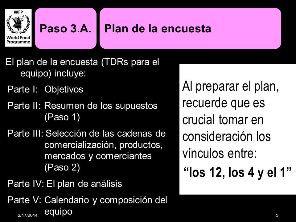 El plan de la encuesta (TDRs para el equipo) incluye: Parte I: Objetivos Parte II:Resumen de los supuestos (Paso 1) Parte III: Selección de las cadena